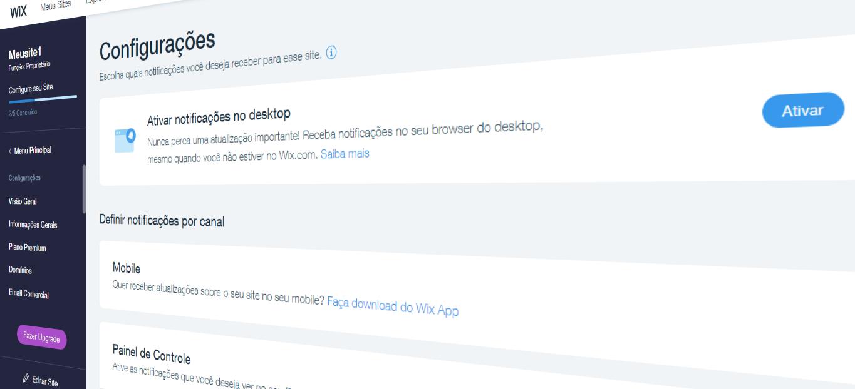 Como desativar notificações do seu site Wix