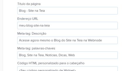 Como inserir informações SEO em seu site Webnode