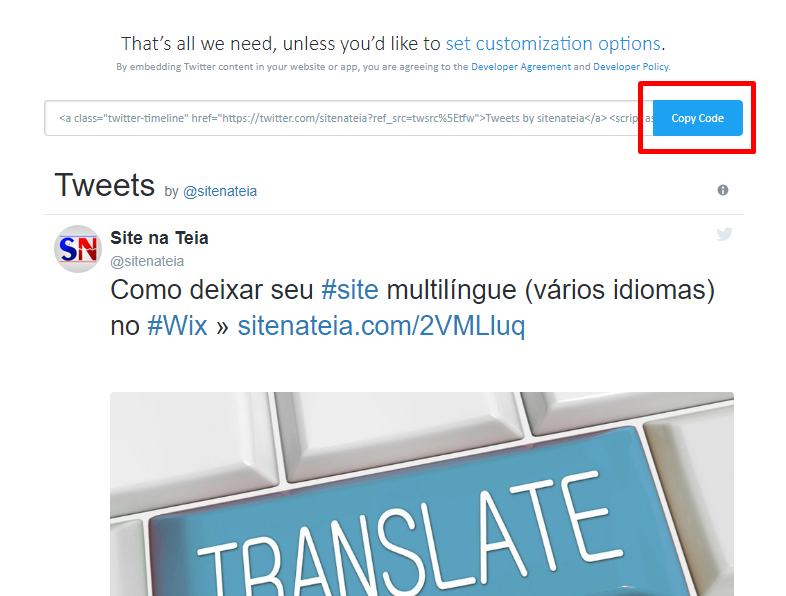 Widget site Twitter