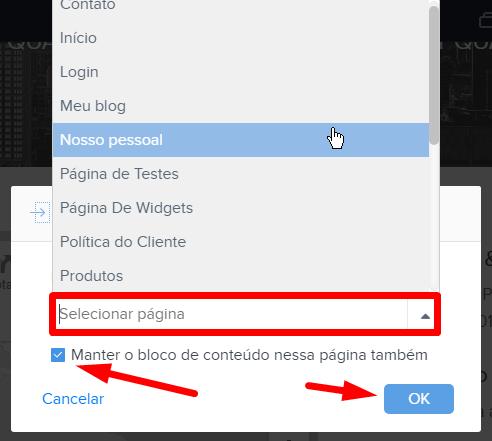 Mover conteúdo na Webnode