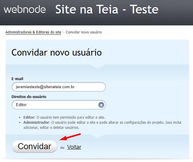Adicionar colaboradores - Webnode 2.0