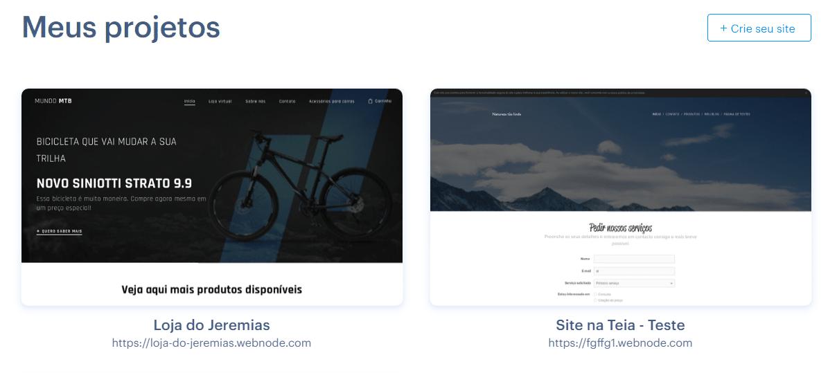Novo design da administração da Webnode - 2020